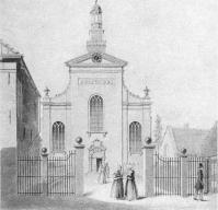 Een gravure van de Waterstaatskerk uit 1850