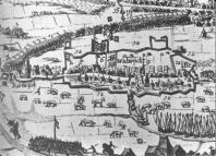 Een landkaart van Waalwijk uit 1624