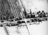 Een tekening van de kerk in 1578