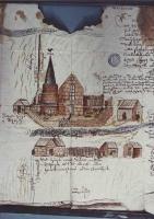 Een tekening van de na de beeldenstorm herbouwde kerk